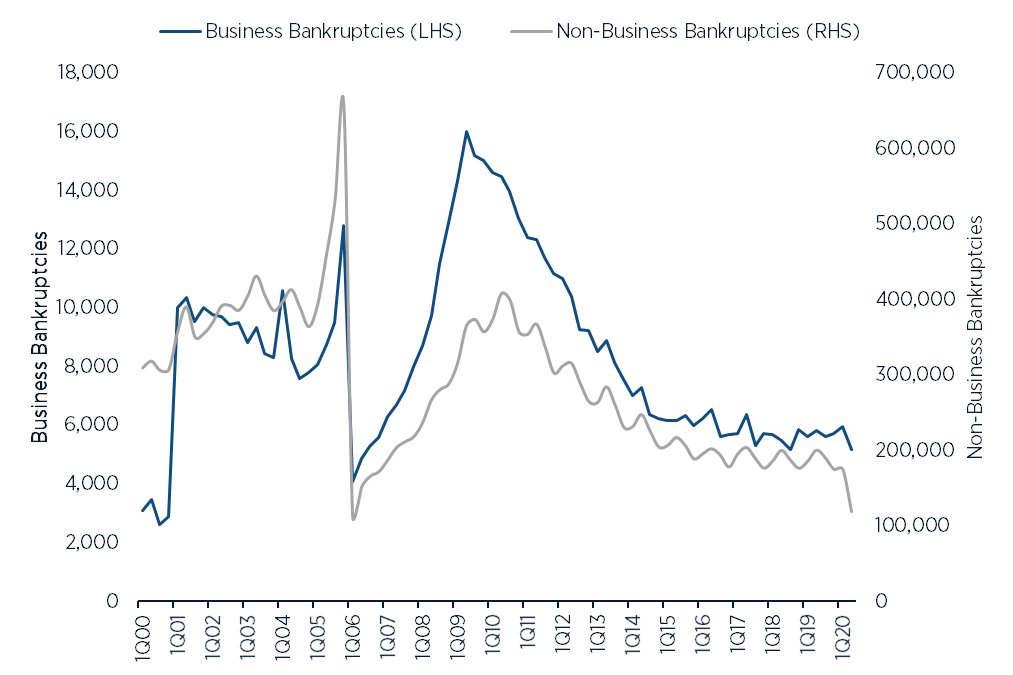 Business vs. Non-Business Bankruptcies in the US